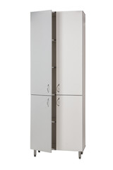 Medical cabinet with open doors on a white background