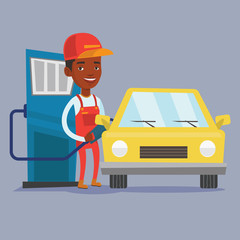 Worker filling up fuel into car.