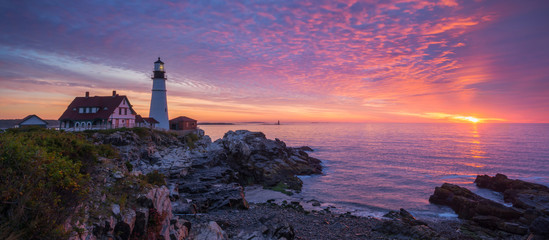 Portland Head Light Panorama Sunrise