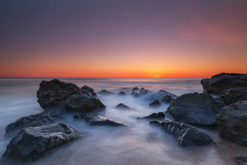 Rocky sunrise at Seagirt, New Jersey