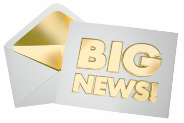 Big News Envelope Message Update Announcement 3d Illustration