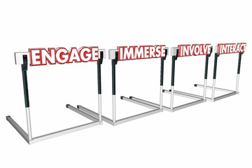 Engage Involve Immerse Interact Hurdles Join Communicate 3d Illu