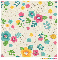 Cute flower and leaf seamless vector pattern with dot background