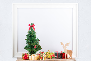 picture frame with decorations. Mock up for your photo or text Place your work, Christmas style, white background,accessories