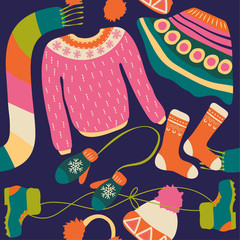 Seamless pattern with winter clothing. Warm woollies. Clothes for cold weather. Mittens,hats, scarf, sweaters, skirt, shoes, socks with ornament. Repeating background. Vector illustration, eps10