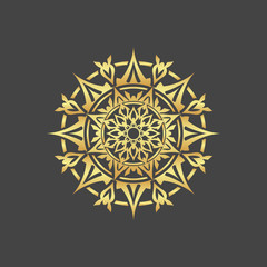 Abstract element for design, gold flower, star, mandala, decoration.