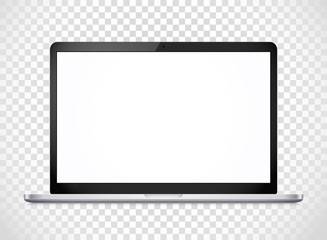 Modern laptop computer vector mockup isolated on transparent. Ve