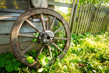 Old wagon wheel on a green grass