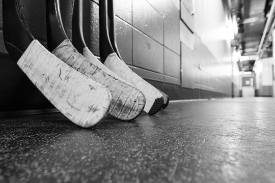 Black and white macro shot of hockey stick blades - Shallow depth of field