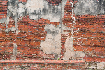 ancient old red brick grunge wall fragment background, texture,