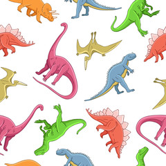 Seamless vector pattern of different dinosaurs