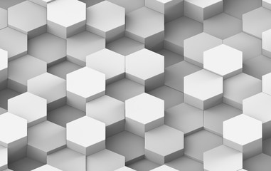 White And Grey Hexagon Background Texture. 3d render