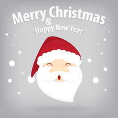 santa claus and snow theme, merry christmas and happy new year o