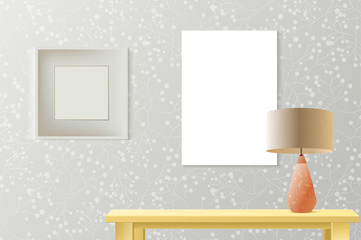 Interior room realistic mockup with frame,poster, picture on patterned wall, wooden table, lamp. Layered and editable,fashion trendy warm colors. Vector mockup for business or artwork presentation