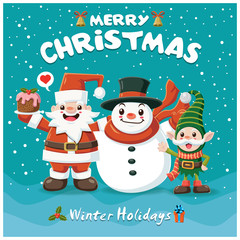 Vintage Christmas poster design with Santa Claus, snowman, elf characters.