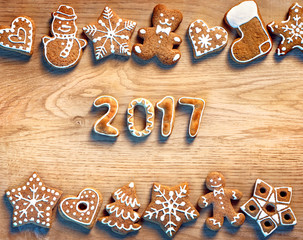 Christmas cookies on wooden background. 2017. Top view. Merry Christmas and Happy new year!