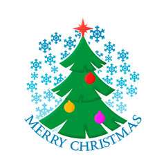Merry Christmas sticker with the image of a decorated Christmas tree and snowflakes.