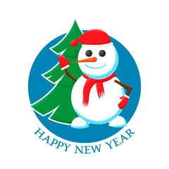 Happy New Year sticker with the image of a Christmas tree and snowman