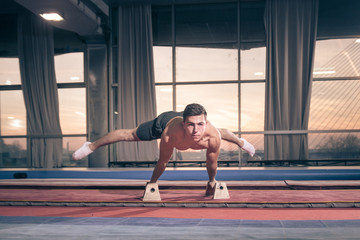 young man two hand cartwheel