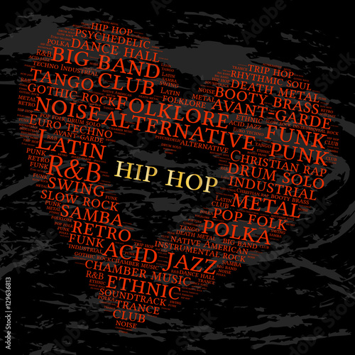 Hip Hop Word Cloud Heart Grunge Background Musical Styles