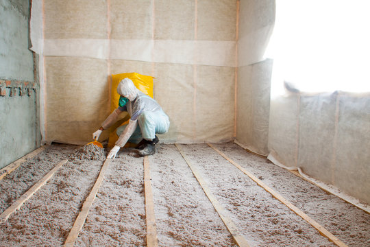 Master stacked cellulose insulation in the floor