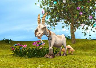 3D Rendering Happy Goat