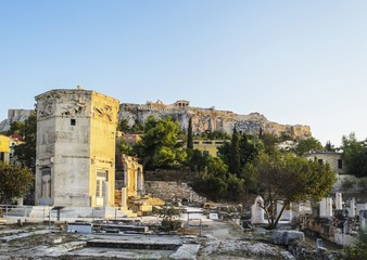 Tower of Winds and Acropolis view before sunset, Athens, Greece