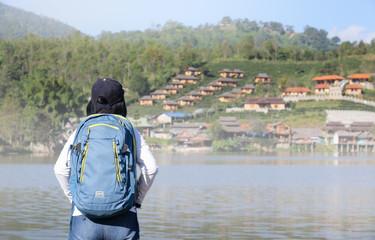 Tourist at Rak Thai village, Mae Hong Son Thailand.