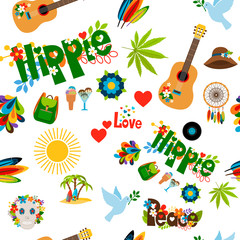 Vector illustration with colorful hippie signs seamless pattern