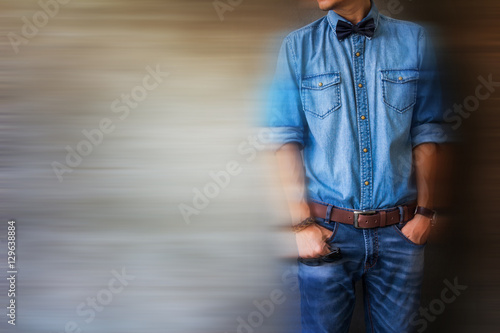 Blurred Image Fine Art Of Men S Casual Outfits Standing