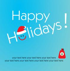 Happy holidays typographic with smile and santa claus hat icon. Santa sack.