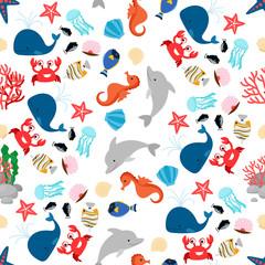 Cartoon colorful sea animal seamless pattern vector illustration