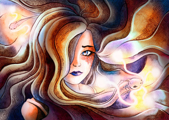 the girl from the hair which come fish with glowing mustache, symbolizes the zodiac sign Pisces