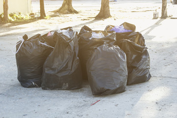 Garbage placed in a black plastic bag for disposal.