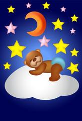 Teddy Bear is sleeping on the Cloud