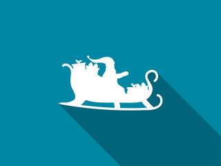 Santa Claus in a sleigh with a long shadow. Vector illustration.