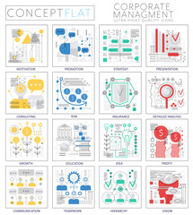 Infographics mini concept corporate managment icons for web. Premium quality design web graphics icons elements. Corporate managment concepts.