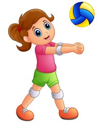 Cartoon girl playing volleyball on a white background