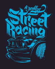 Racing car typography, t-shirt graphics, lettering
