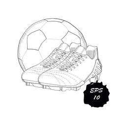 hand drawn graphic football boots with ball on white background. Doodle Design isolated object for logo.