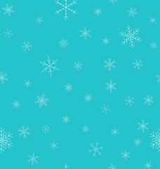 Christmas winter seamless pattern. Snowflakes with blue background. Vector illustration.