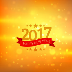 happy new year 2017 wishes greeting with bokeh background