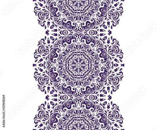 Mandala Seamless Floral Pattern With Flowers And Leaves Coloring White And Black Seamless