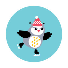 Angry owl skating on the ice rink. Vector illustration.