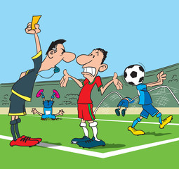 Football referee makes a remark to the player who has broken the rules. Cartoon vector illustration