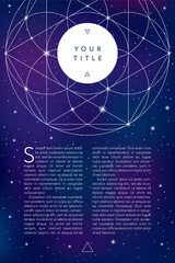 Sacred geometry symbol on space background. Brochure, flyer or banner template