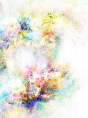 abstract multicolor flower motive collage in space.