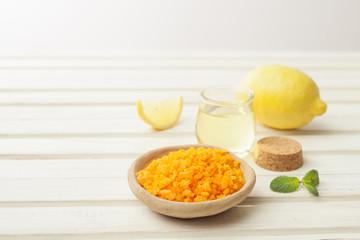 salt, cosmetic oil, ginger and lemon for preparing cosmetics at