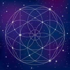 Sacred geometry symbol on space background. Vector