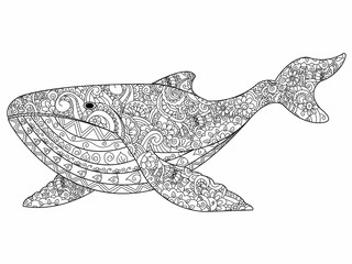 Whale coloring vector for adults